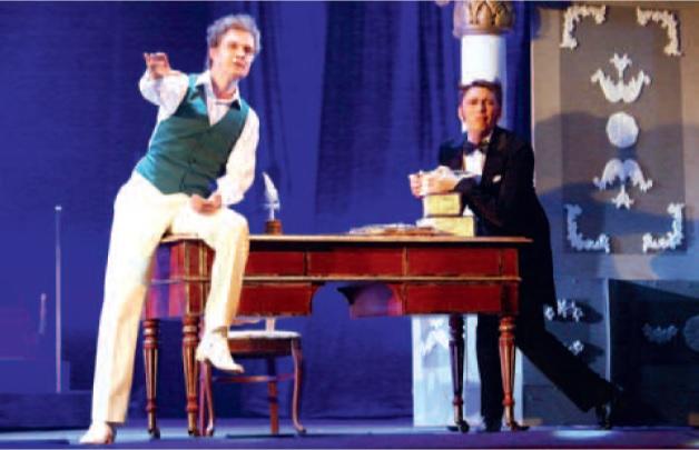 Сцена из спектакля. Балдуин – Евгений Елпашев (слева), Йозеф – Владимир Фомин (справа).